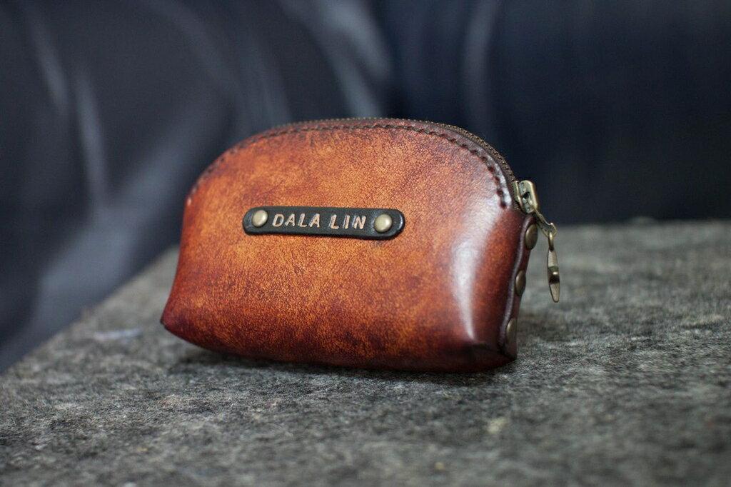 皮件 手工皮革 零錢包 經典復古色