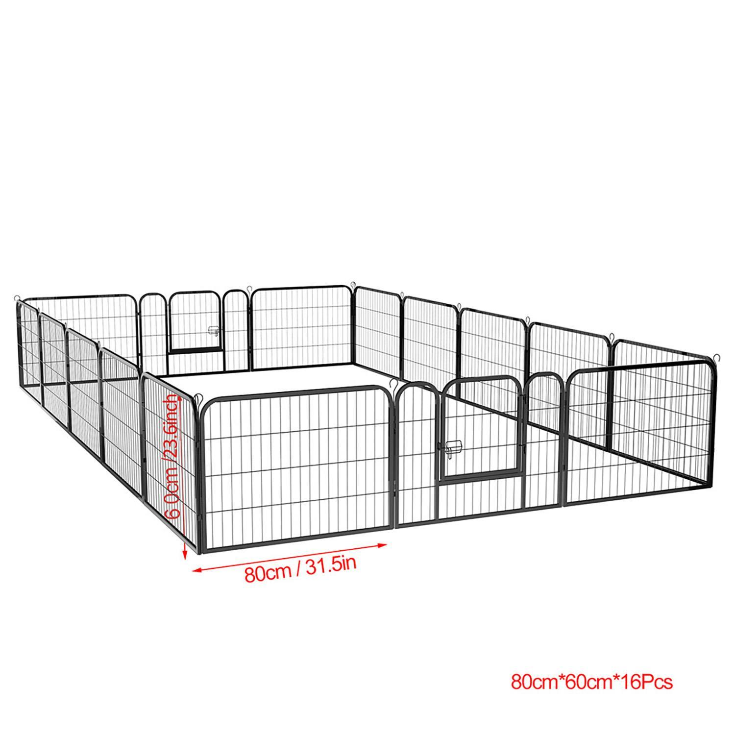 16 Panel Large Metal Pet Dog Cat Exercise Barrier Fence Cage 2