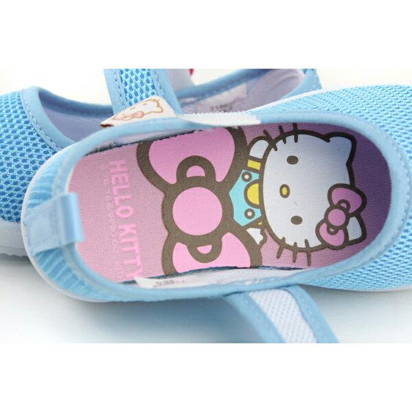 Hello Kitty 凱蒂貓 娃娃鞋 網布 水藍 中童 童鞋 718622 no759 4