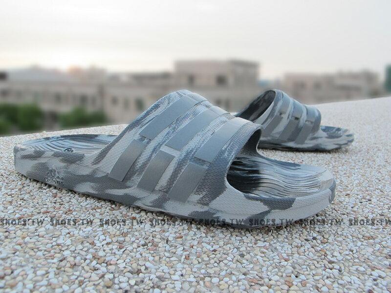Shoestw【B33503】ADIDAS DURAMO SLIDE 拖鞋 渲染 灰 迷彩 男生