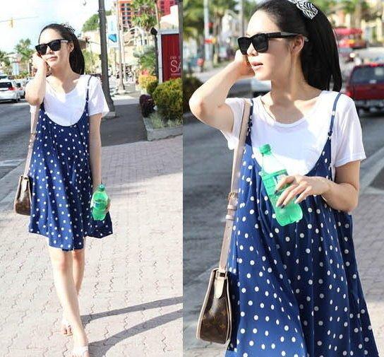 *漂亮小媽咪*韓系時尚二件式藍色點點(T恤+背心裙)連身裙孕婦裝娃娃裝D0210XD