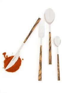 義大利Pintinox個人四件餐具組-主餐刀+叉+匙+咖啡匙(仿非洲崖豆木深咖褐)