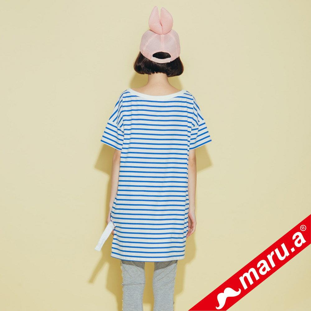 【maru.a】小飛象OMG條紋長版T-Shirt(2色)8321318 2