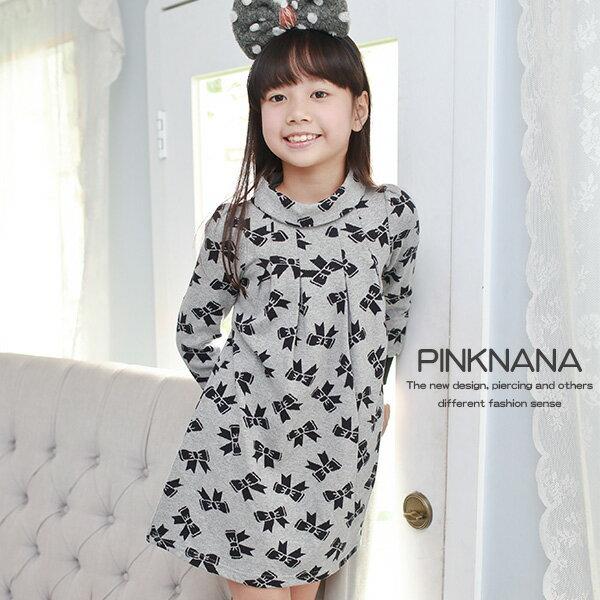 Pink Nana:粉紅娜娜童裝中大童蝴蝶結針織棉質洋裝30125