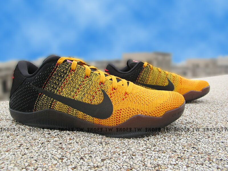 Shoestw【822675-706】NIKE KOBE XI ELITE LOW 黑黃 李小龍 爪痕 FLYKNIT
