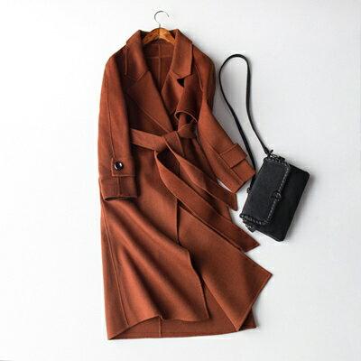 【米蘭秀】【奇珍館】:毛呢外套羊毛大衣-長版保暖綁帶修身女外套2色73op34【獨家進口】【米蘭精品】