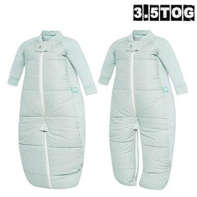澳洲【ergopouch】2way 有機棉褲型防踢被-綠白葉 (3.5TOG 冬天專用) 0