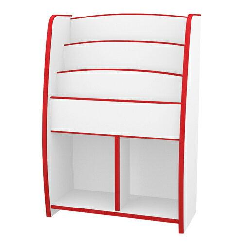 TZUMii:日本直輸書櫃收納櫃TZUMii小木偶四層二格收納櫃-紅白