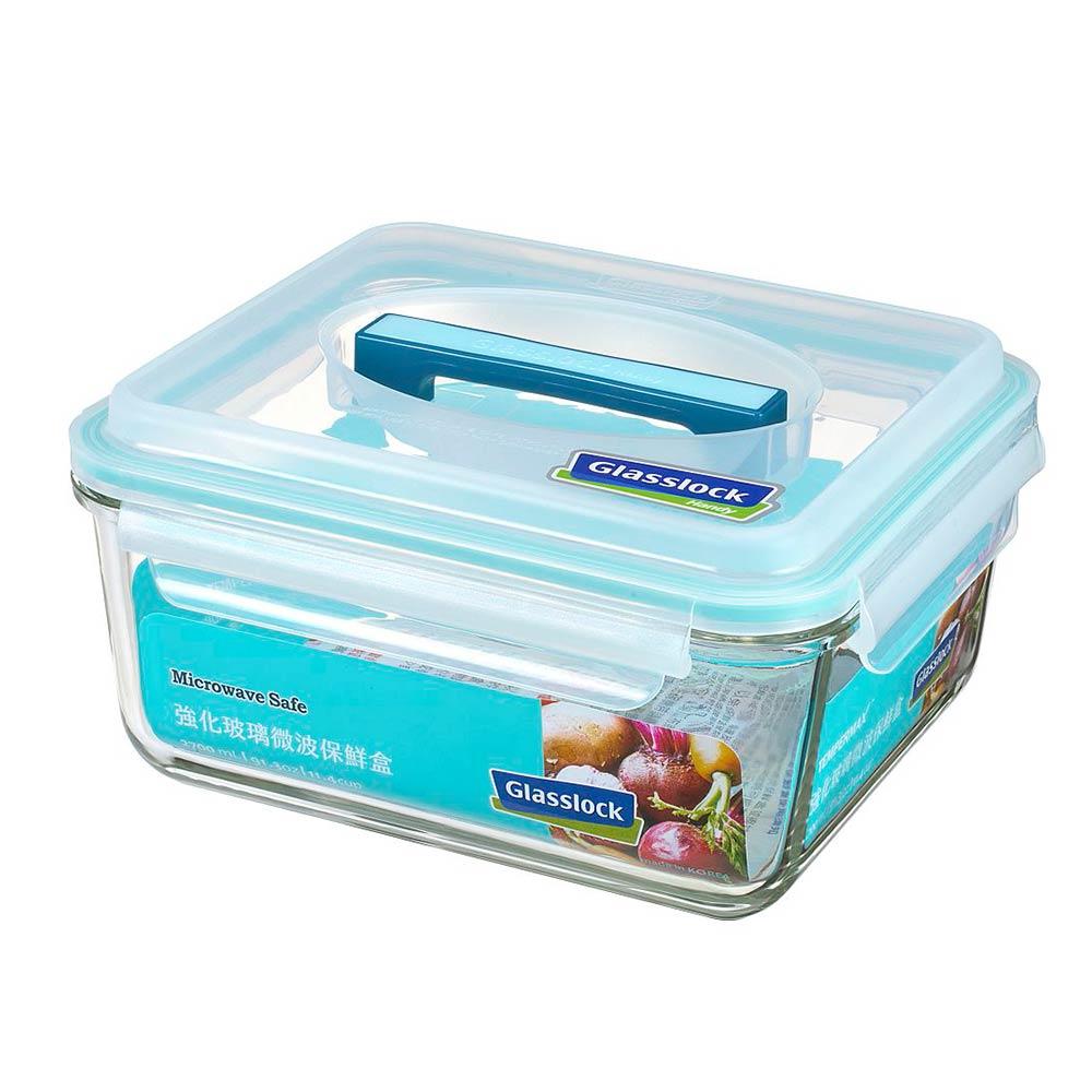 Glasslock 附提把手提強化玻璃保鮮盒- 2700ml/韓國製造/可微波/野餐手提款/耐瞬間溫差120度/減塑餐盒 1