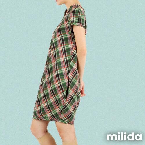 【Milida,全店七折免運】-夏季商品-拼貼款-氣質花苞版型洋裝 3