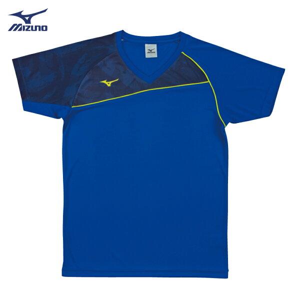 V2TA7G1821(藍X灰藍)男女通款吸汗快乾、SlimFIT合身版型排球上衣(【美津濃MIZUNO】