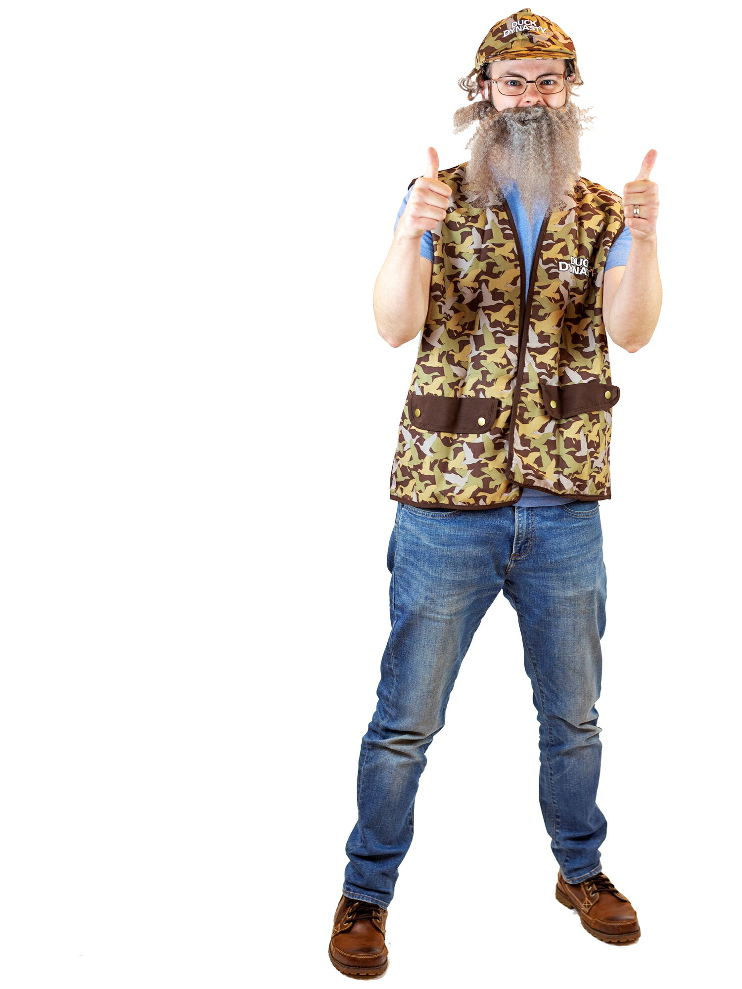 Duck Dynasty Uncle Si Adult Halloween Costume--Camouflage Vest, Hat, Wig, Beard, and Glasses!  - One Size - Uncle Si