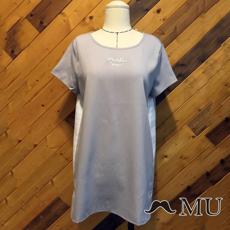 【MU】素面簡約LOGO條紋側拼接上衣(2色)7323168 5