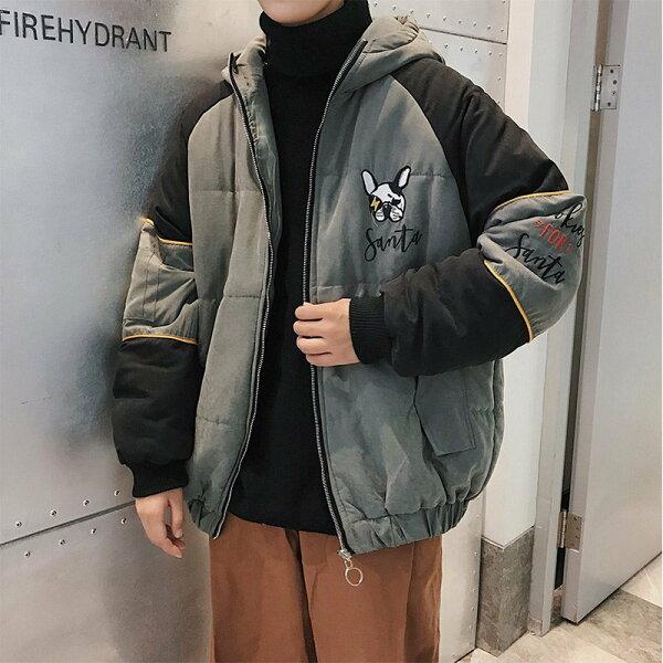 FINDSENSEG6韓國時尚帥氣撞色寬鬆連帽棉服男上衣冬季外套