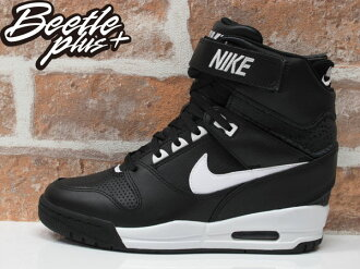 BEETLE PLUS 全新 NIKE WMNS AIR REVOLUTION SKY HI 黑白 皮革 蟾蜍紋 內增高 599410-010