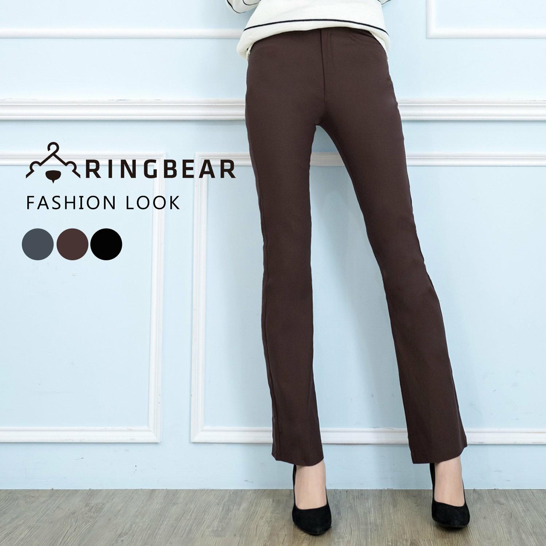 西裝褲--修長OL超彈性中腰修飾顯瘦素面微喇叭氣質長褲(黑.灰.咖S-7L)-P17眼圈熊中大尺碼 1