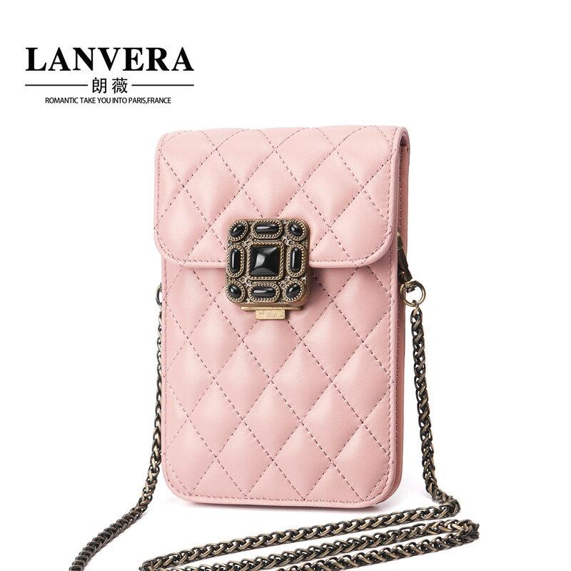 鍊條羊皮真皮包 菱格紋仕女包手機包#LV6988
