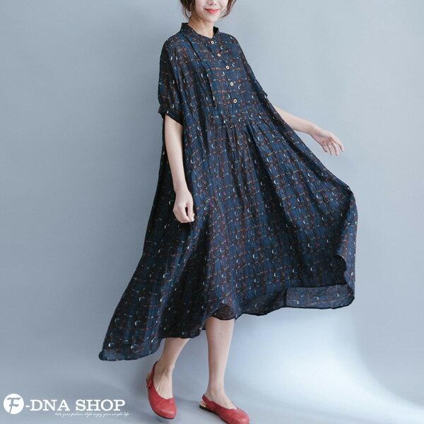 加大尺碼★F-DNA★格紋開扣立領長版短袖洋裝(藏青-L-XL)【HG22011】 4