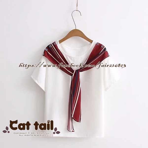 《貓尾巴》TS-0593甜美拼接條紋簡約繫帶短袖上衣(森林系日系棉麻文青清新)