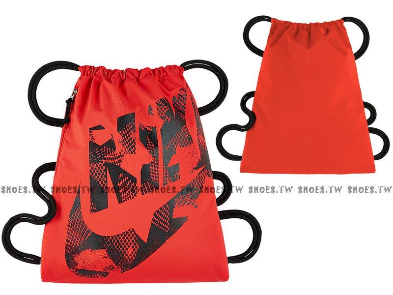 Shoestw【BA5351-852】NIKE GYMSACK 束口袋 側拉鍊 輕便袋 鞋帶 大字款 紅黑 網點LOGO