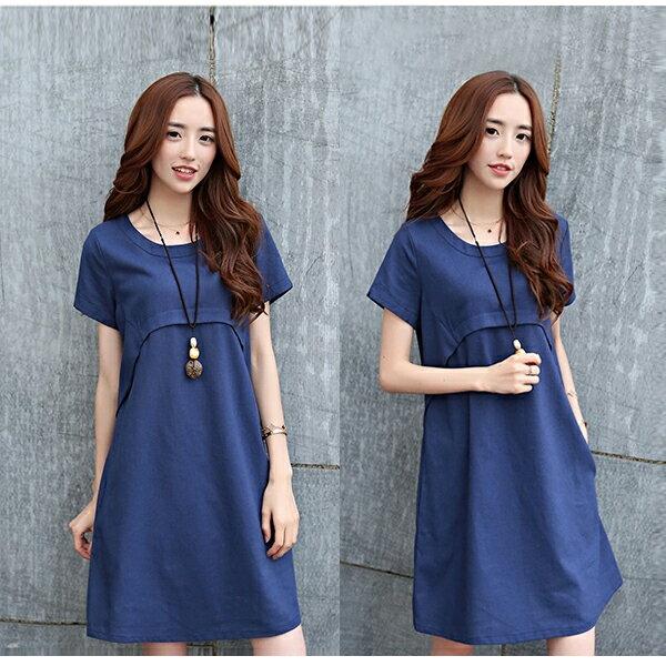 短洋裝 - 圓領層次設計短袖棉麻連衣裙【29095】藍色巴黎《4色》現貨+預購 3