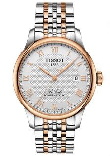 TISSOT天梭錶T0064072203300力洛克經典80小時動力機械腕錶白面+玫瑰金39.3mm