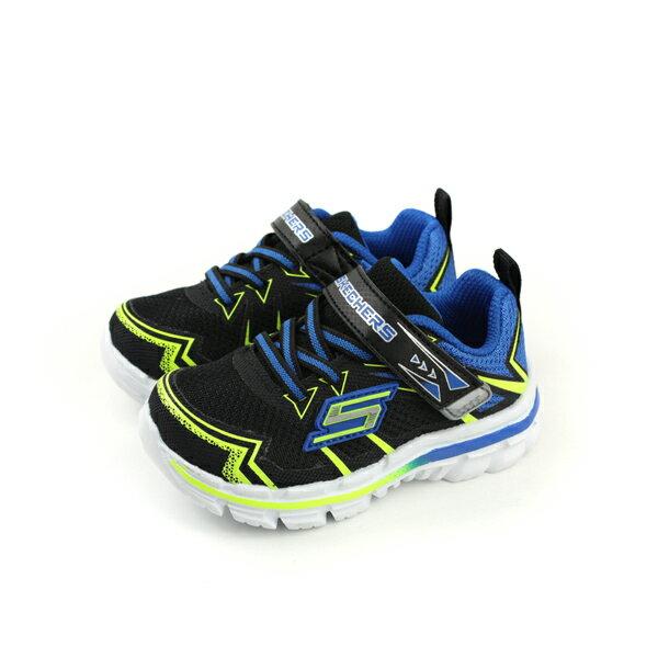 HUMAN PEACE:SKECHERS運動鞋魔鬼氈記憶鞋墊小童童鞋黑色藍色95358NBKBLno776