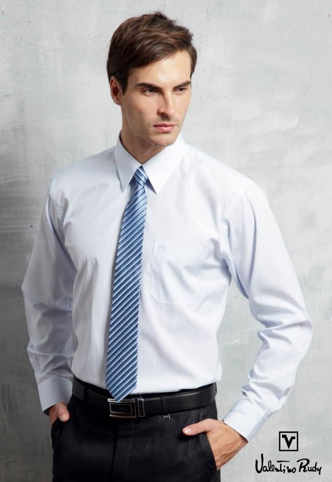 Valentino Rudy范倫鐵諾.路迪長袖襯衫-淡藍直條