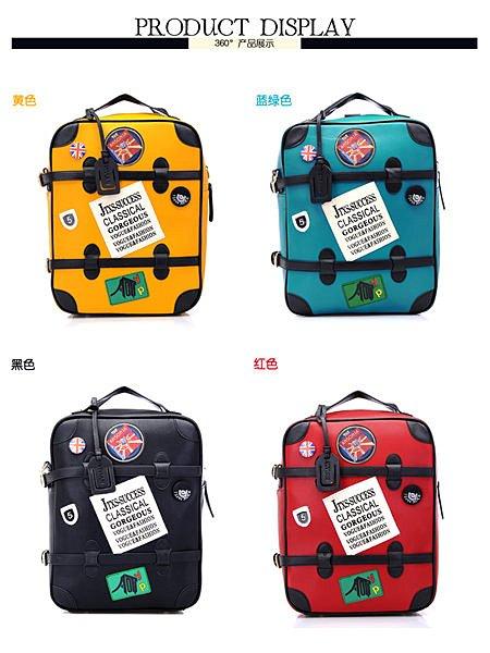 =優生活=正韓國徽章後背包手提單肩包女 非ㄧ般市售薄款小型行李包箱型女流行 行李包