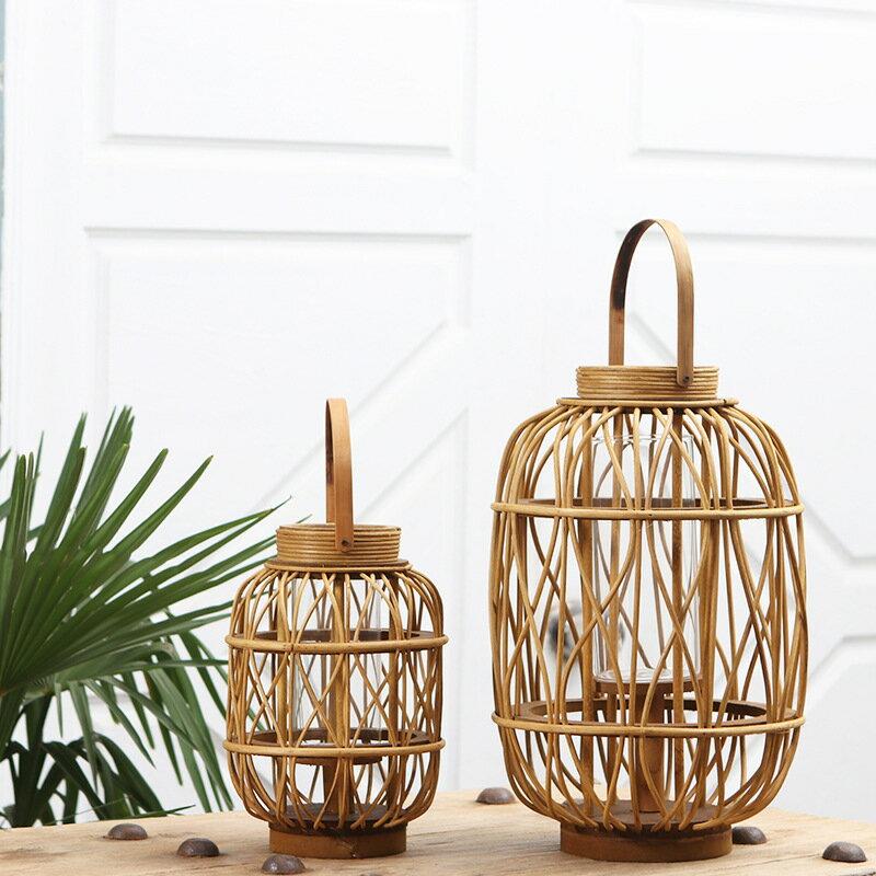 中式古典木質柳藤條燭台風燈禮品手工家居裝飾擺件