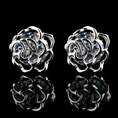 925純銀耳環鑲鑽耳飾~高貴典雅玫瑰花七夕情人節 女飾品2色73hz17~ ~~米蘭 ~