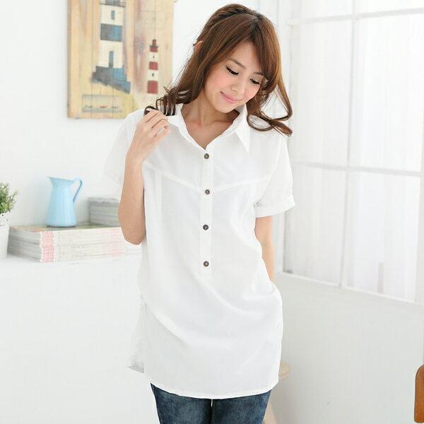 長版襯衫--初春顯瘦印象感素面長版縮腰襯衫(白.黑.綠M-3L)-H90眼圈熊中大尺碼