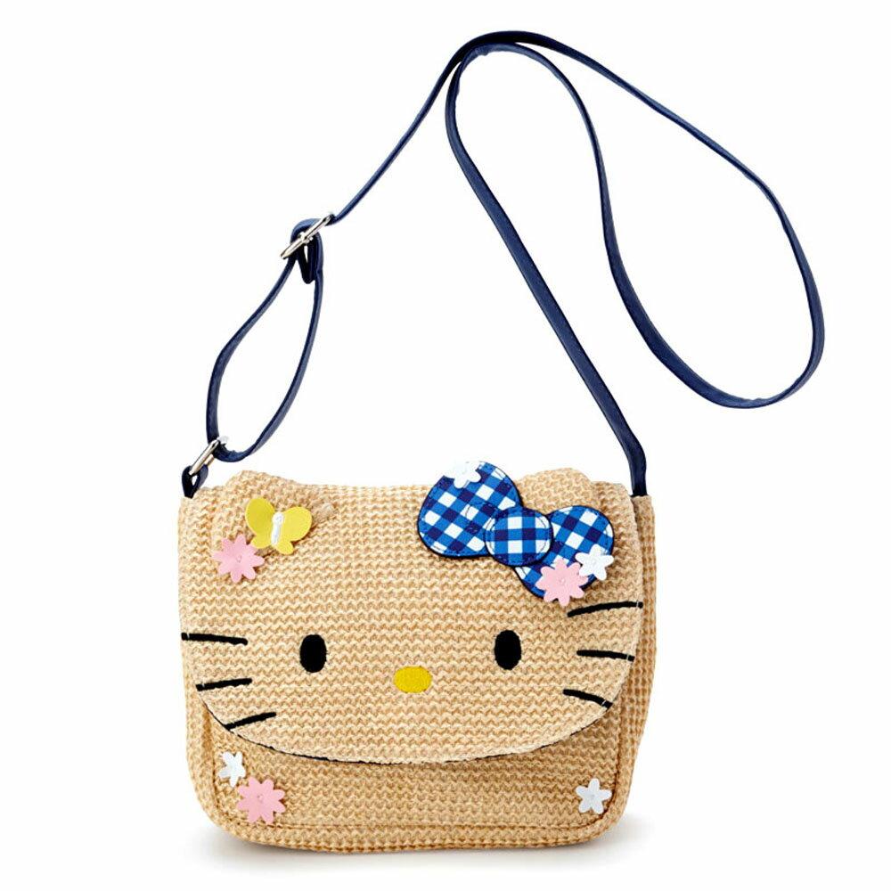 Hello Kitty編織大花臉造型斜背磁扣包/兒童斜背包/側背包