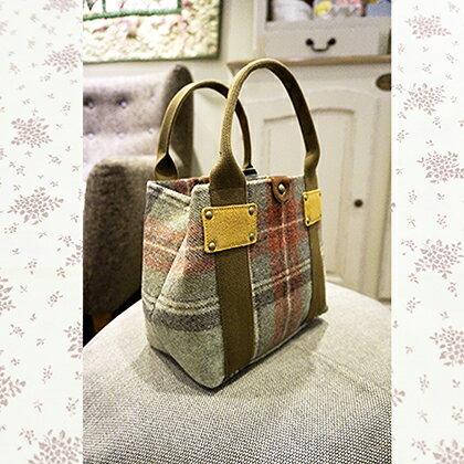 日製英國品牌毛呢手提包