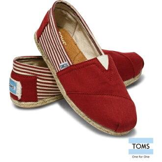 ★下殺特賣990均一價★07/28 15:00準時開搶【TOMS】紅色細條紋學院風平底鞋 Red Stripe University Women\