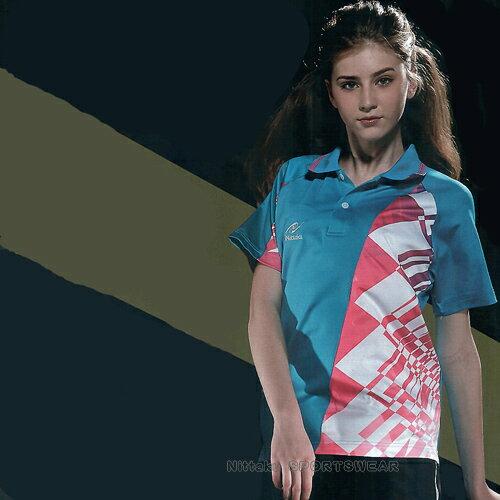 日本名牌Nittaku男女吸濕排汗(印刷圖騰)短POLO衫-海藍(#3615) - 限時優惠好康折扣