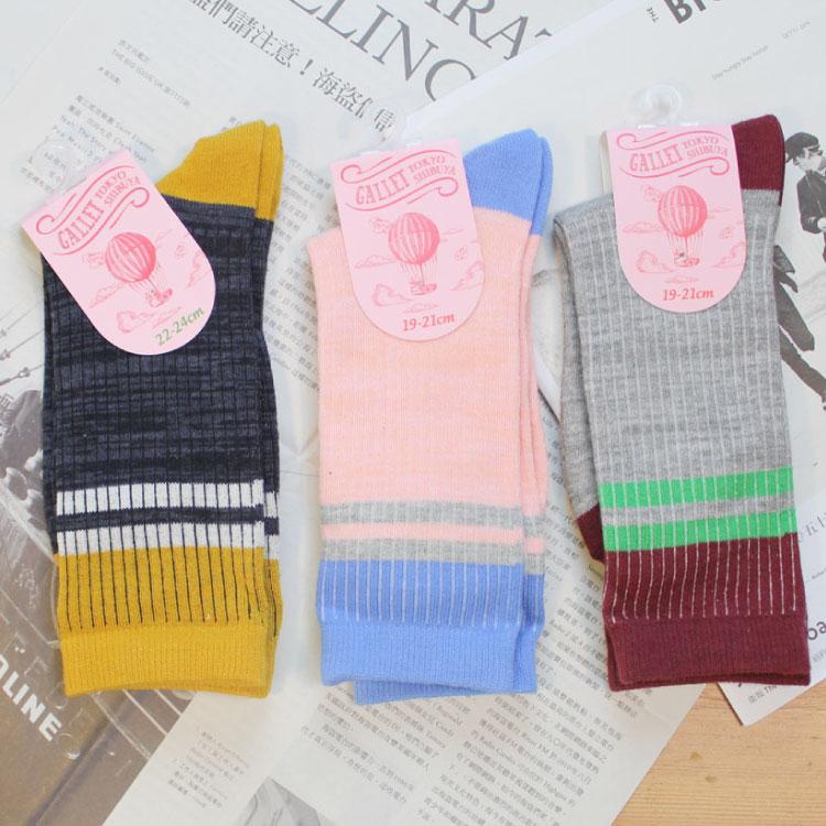 襪子 條紋 球鞋 SEIO  條紋 簡約撞色條紋 百搭棉質 襪子  3色