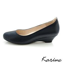 karine(MIT台灣製)全真皮百搭素面楔型鞋-暗藍色