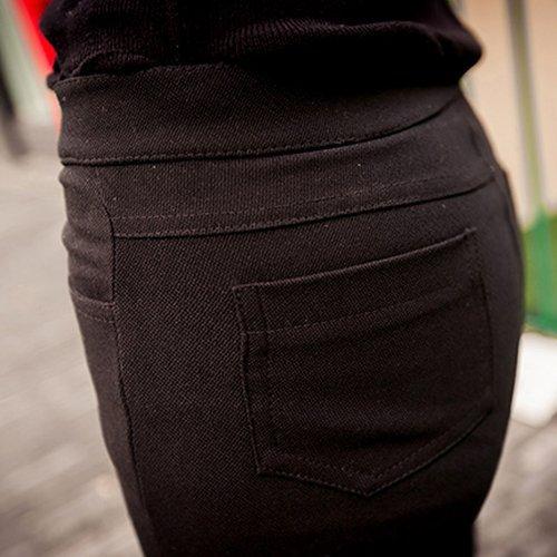 窄管褲 - 高腰橫排五釦顯瘦彈力窄管褲【23298】藍色巴黎-現貨+預購 2