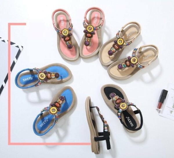 Pyf♥民族風波西米亞涼鞋夾腳沙灘鞋牛筋軟底防滑42大尺碼女鞋