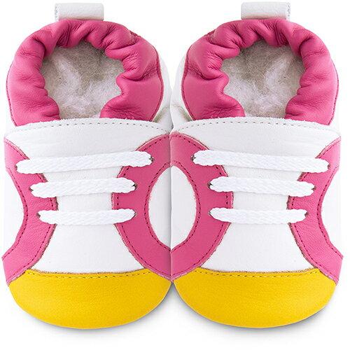【HELLA 媽咪寶貝】英國 shooshoos 安全無毒真皮手工鞋/學步鞋/嬰兒鞋_白底/粉黃運動型_102060 (公司貨)