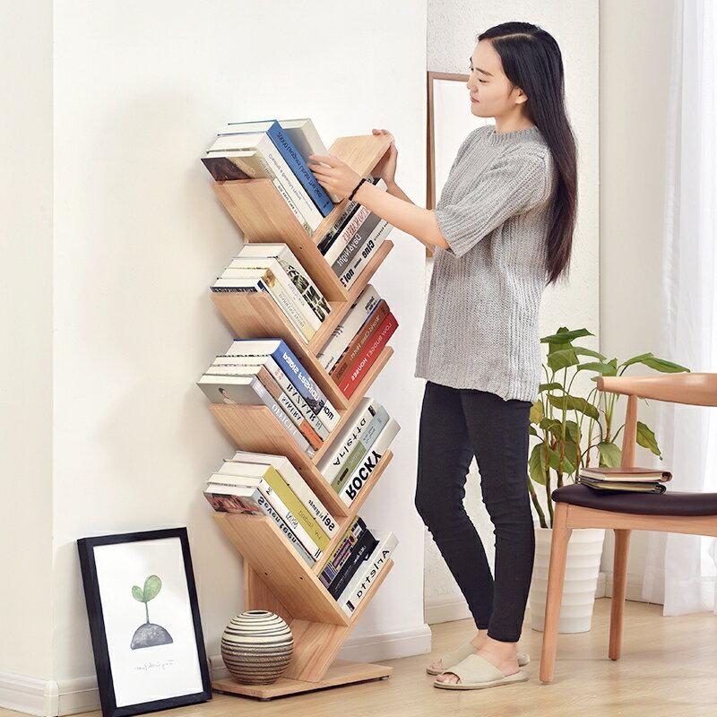 書櫃 簡易兒童實木小書架簡約現代創意樹形書架書房落地置物架桌面書架 夢藝家
