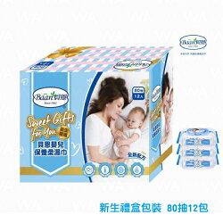 貝恩新生禮盒包裝嬰兒保養柔濕巾【80抽x12包】