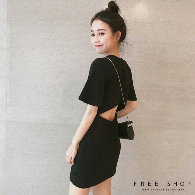 Free Shop 小心機後背鏤空純色連身裙洋裝黑色顯瘦美背露背連身小黑裙短裙小中大尺碼【QCCDY1111】