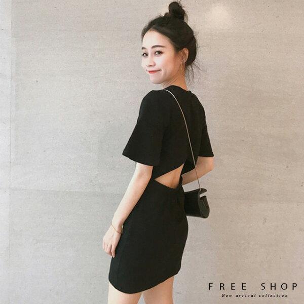 FreeShop小心機後背鏤空純色連身裙洋裝黑色顯瘦美背露背連身小黑裙短裙小中大尺碼【QCCDY1111】