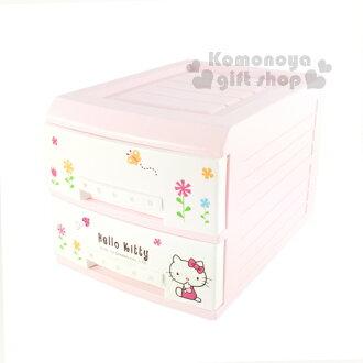 〔小禮堂〕Hello Kitty 二層塑膠整理抽屜櫃《白.側坐.花草》輕鬆歸納