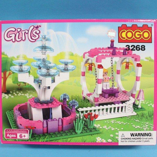 COGO積木 3268 童話公主系列-花園噴水池盪鞦韆 益智積木 約170片/一盒入{促350}~可與樂高混拼裝