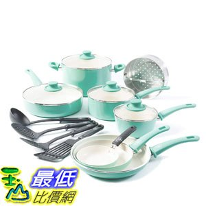 [8美國直購] 不沾鍋 廚具套裝 GreenLife Soft Grip 16pc Ceramic Non-Stick Cookware Set, Turquoise B071X9PTYV - 限時優惠好康折扣