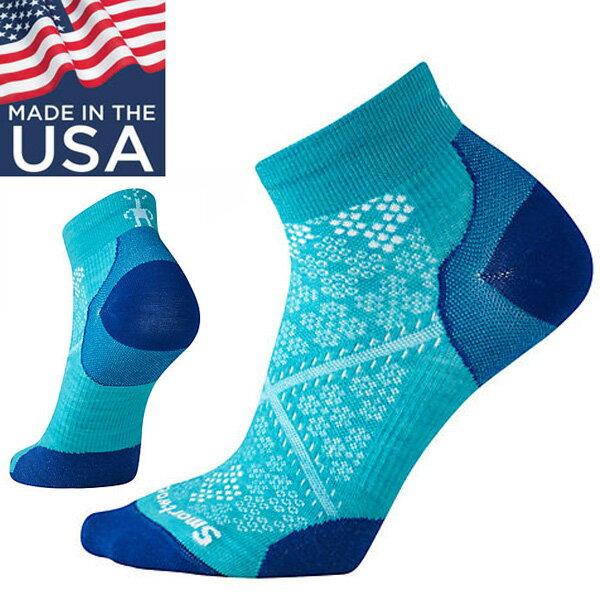 【Smartwool美國】PhDRunUltraLightLowCut減震型跑步低筒襪跑步襪戶外襪羊毛襪女款卡普里藍/SW0SW195810