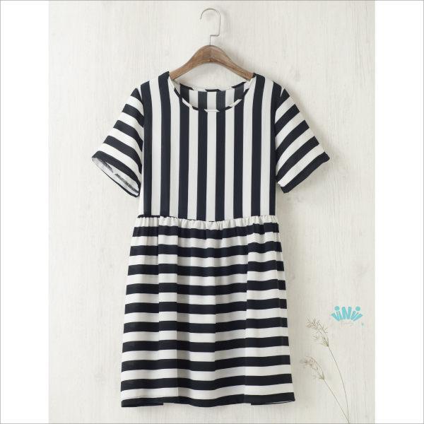viNviLady黑白條紋拼接雪紡洋裝